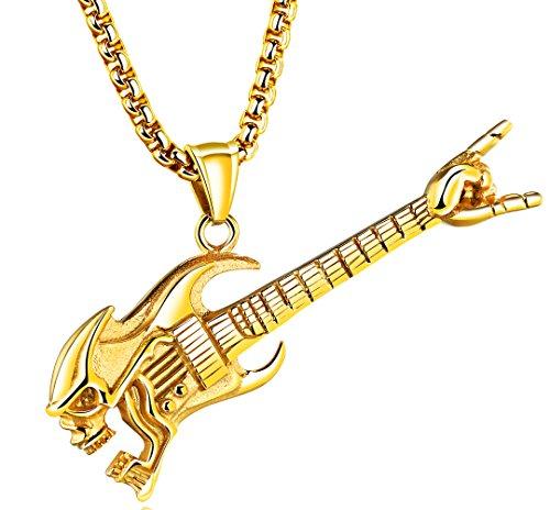 LineAve Men's Stainless Steel Skull Guitar Pendant Necklace, Gold Color, 3d0083 (Skull Guitar Pendant)