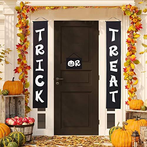 Hicet Halloween Trick or Treat Banner Door Decorations Hanging Outdoor Sign Words Decor 3Pieces