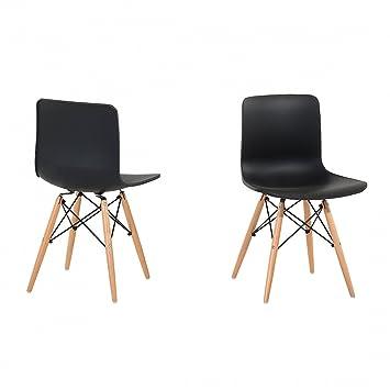 Stuhl design-Sitz, Kunststoff, schwarz, Soho: Beliani: Amazon.de ...