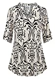 Nandashe Blouses for Women Work Casual, Ladies Split V Neck Blouse Shirt 3/4 Cuffed Sleeve Elegant Fit Tunics Shirt Dressy Sheer Tops Work Beige Floral Shirts Business Casual Wear Off White XL