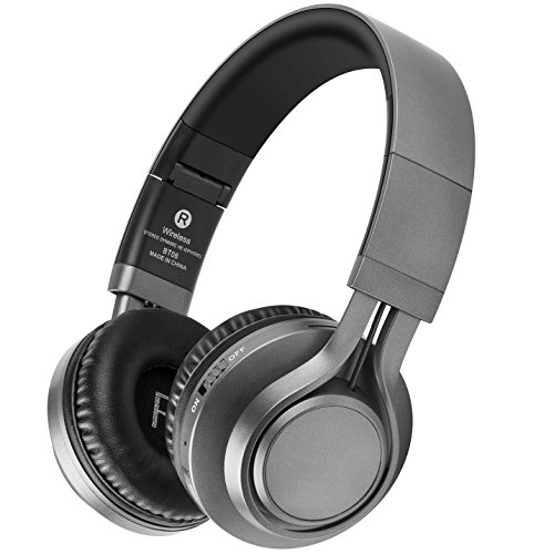 Bluetooth Headphones with Mic, HiFi Stereo Wireless Headphones 40 MM Drive, 8 Hrs Playtime Foldable Headset, Support TF Card, FM Radio Wired&Wireless Mode for PC Cellphone TV - Radio Wireless
