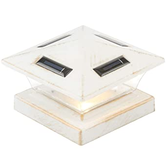 Lampadaire solaire sur pied LED blanc antique pour poteau de ...