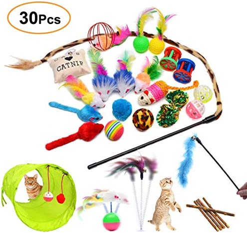 Vikano Cat Feather Toys 14 Pack Cat Teaser Toy 2 Retractable Interactive Cat Wand and 12 Colourful Replaceable Cat Feather Toys with Bells For Indoor Cat and Kitten Catcher