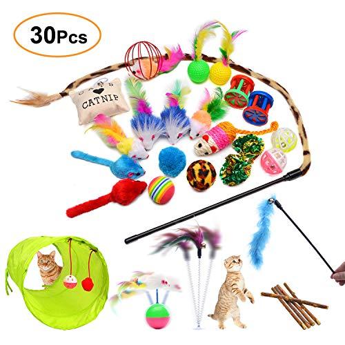 FYNIGO Katzenspielzeug Set mit Katzentunnel,Bälle,Federspielzeug,Plüschspielzeug,Spielzeugmäuse,Katzen Spielzeug Variety…