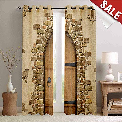 (Rustic, Thermal Insulating Blackout Curtain, Wine Cellar Entrance Stone Arch Ancient Architecture European Building, Blackout Draperies for Bedroom, W108 x L108 Inch Sand Brown Pale Brown)