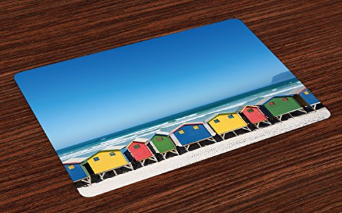 Ambesonne Travel Place Mats Set of 4, Colorful Bathhouses at Muizenberg Cape Town South Africa Standing in a Row Touristic, Washable Fabric Placemats for Dining Room Kitchen Table Decor, Multicolor