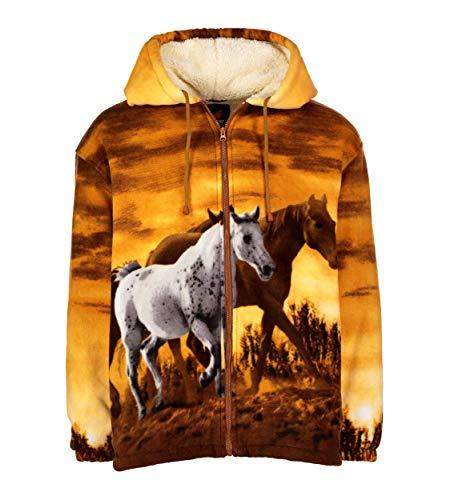 56741004e9ea TrailCrest Men Women's Hoodie Sweatshirt Zip up Sherpa Lined Fleece Horse  Jacket Wildkind
