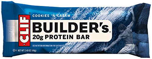 Clif Bar Builder's Bar, Cookies and Cream, 2.4-Ounce Bars, 12 Count