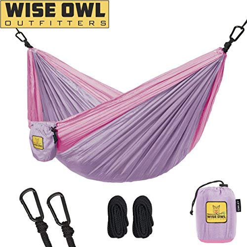 Wise Owl Outfitters Kids Hammock for Camping The Owlet Kid Child Toddler or Gear Sling Hammocks - Perfect Small Size for Indoor Outdoor or Backyard - Portable Parachute Nylon - Lav/Pink ()
