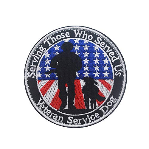 Service Dog Patch for Dogs,Serving Those who Served us Patches Veteran Service Dog Removable Patch for Service Dog Harnesses & Vests - Military Tactical Army Embroidered Morale Patch