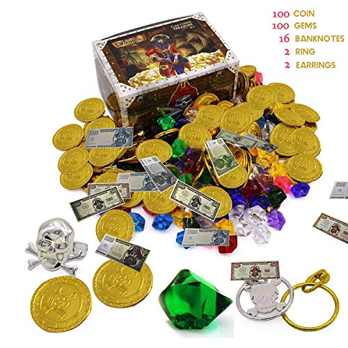 Smilkat Pirate Treasure with Plastic Gold Coins and Diamonds Gems Jewelry, Pirates Party Favor Game Play Set Toys Supplies for Kids]()