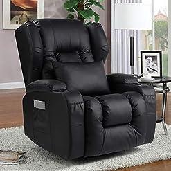 Living Room Recliner Chair- Swivel Rocker Recliner Chair- Ergonomic Single Manual Glider Rocking Recliner Chair Sofa Home Theater…