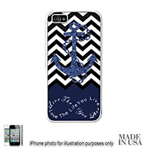 Anchor Live the Life You Love Infinity Quote (Not Actual Glitter) - Navy Black White Chevron with Anchor iPhone 5 5S Case - WHITE RUBBER by Unique Design Gifts