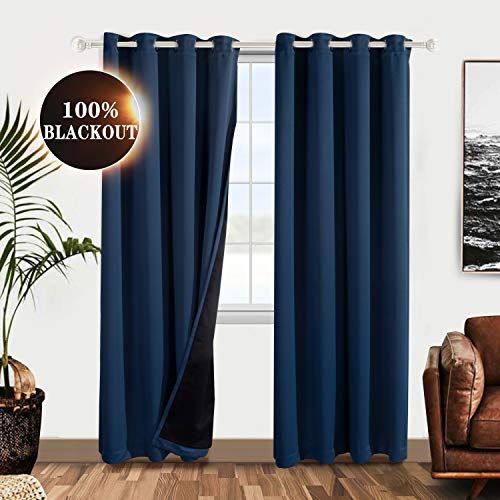WONTEX 100% Thermal Blackout Curtains for Bedroom - Winter Insulating Window Curtain Panels, Noise Reducing and Sun Blocking Lined Grommet Curtains for Living Room, Navy, 52 x 72 inch, Set of 2 (Curtains Blackout Total)