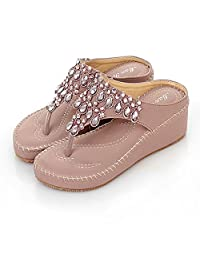 Korean Scrubs Bohemia Low Heel Fashion Sandals For Women Crystal Flipflop Heel Height 1.9in
