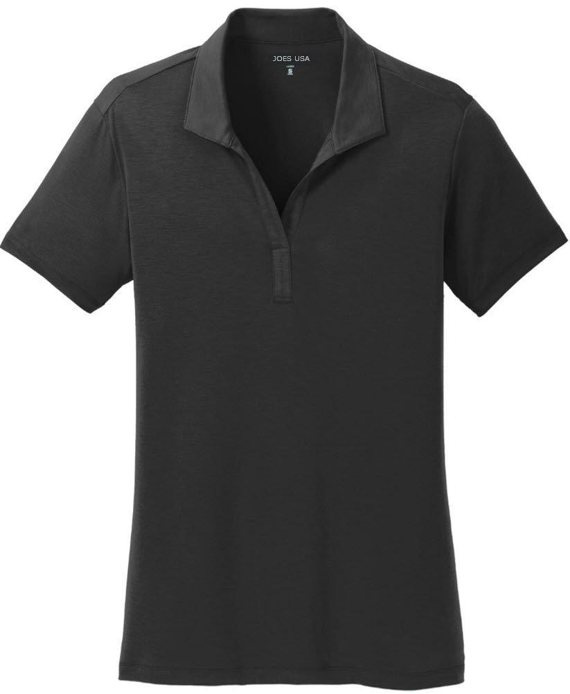 Joe's USA tm - Ladies Cotton Touch Performance Polo-S-Black