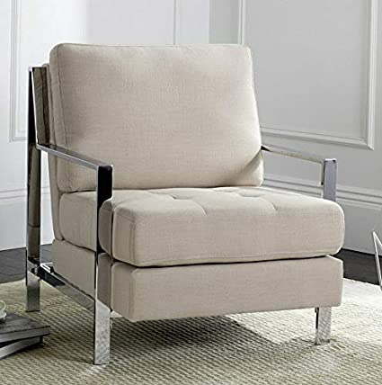 Amazon.com: Hebel Walden Modern Tufted Linen Accent Chair ...