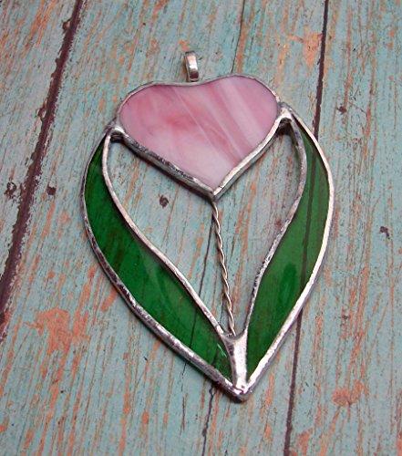 Tulip Heart (Pink Heart Shaped Tulip Flower Small Handmade Stained Glass Sun Catcher)