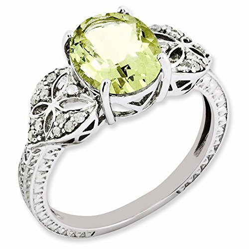 925 Sterling Silver Oval Diamond Lemon Quartz Band Ring Size 7.00 Gemstone Fine Jewelry Gifts For Women For Her