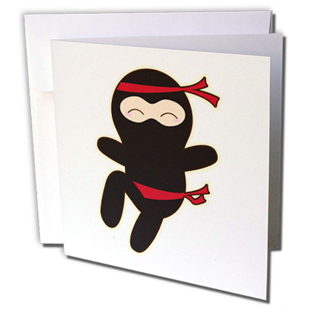 3dRose gc_239514_2 Kawaii Style Ninja - Tarjeta de ...