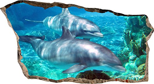 Startonight 3D Mural Wall Art Photo Decor Window Dolphins in Water Amazing Dual View Surprise Large Wall Mural Wallpaper for Living Room or Bedroom Beach 82 x 150 (Halloween Decor Hobby Lobby)
