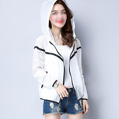 QFFL fangshaifu 女性の薄い短い日の保護服/夏シンプルな学生のフード付き夏の屋外カーディガン/通気性の皮膚に優しい日焼け止めのショール (色 : B, サイズ さいず : XXL)