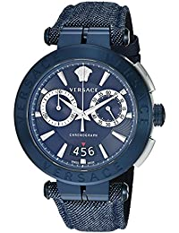 Men's 'AION CHRONO' Quartz Stainless Steel and Leather Casual Watch, Color:Blue (Model: VBR070017)