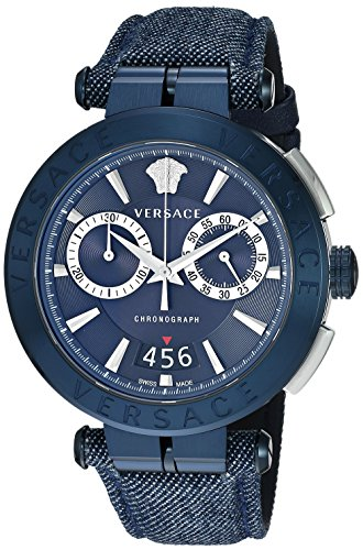 Versace Men's 'Aion Chrono' Quartz Stainless Steel and Leather Casual Watch, Color Blue (Model: VBR070017)