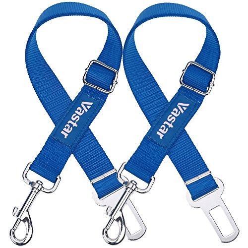 Vastar 2 Packs Adjustable Pet Dog Cat Car Seat Belt Safety Leads Vehicle Seatbelt Harness, Blue