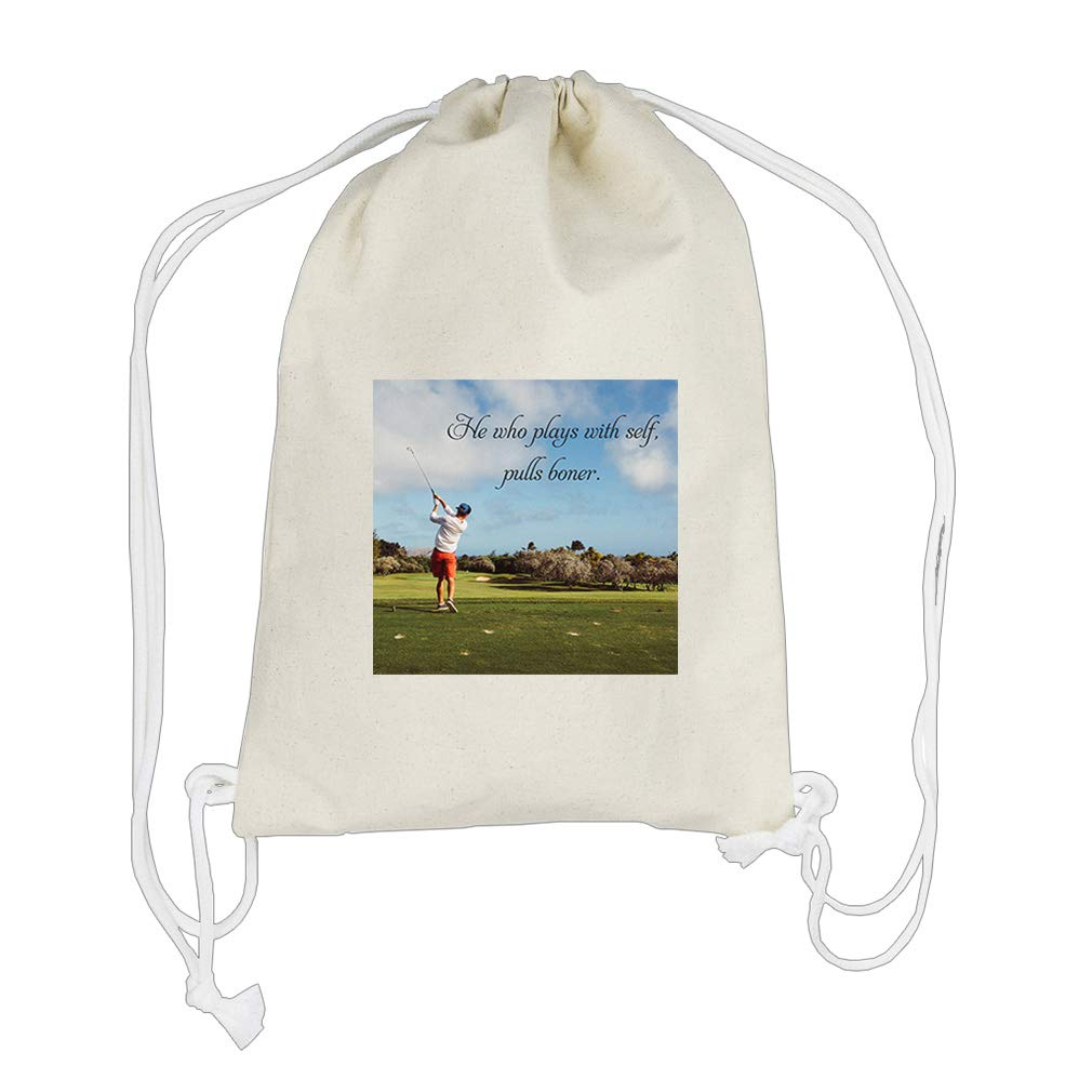 Wife As Escort As Much Fine Entirety Cotton Canvas Backpack Drawstring Bag