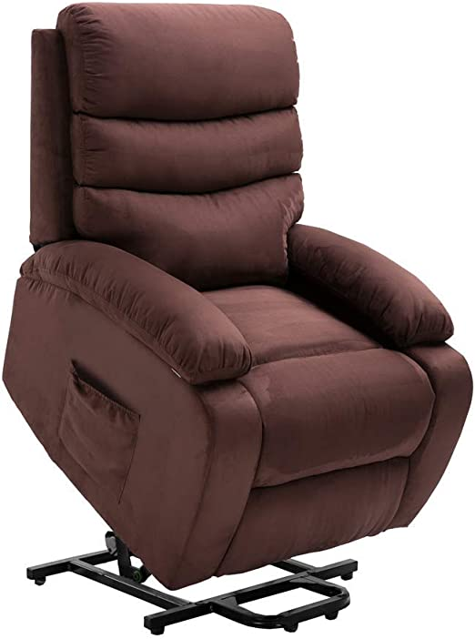 Homegear 2 Remote Microfiber Power Lift Electric Recliner Chair with Massage, Heat and Vibration (Brown)