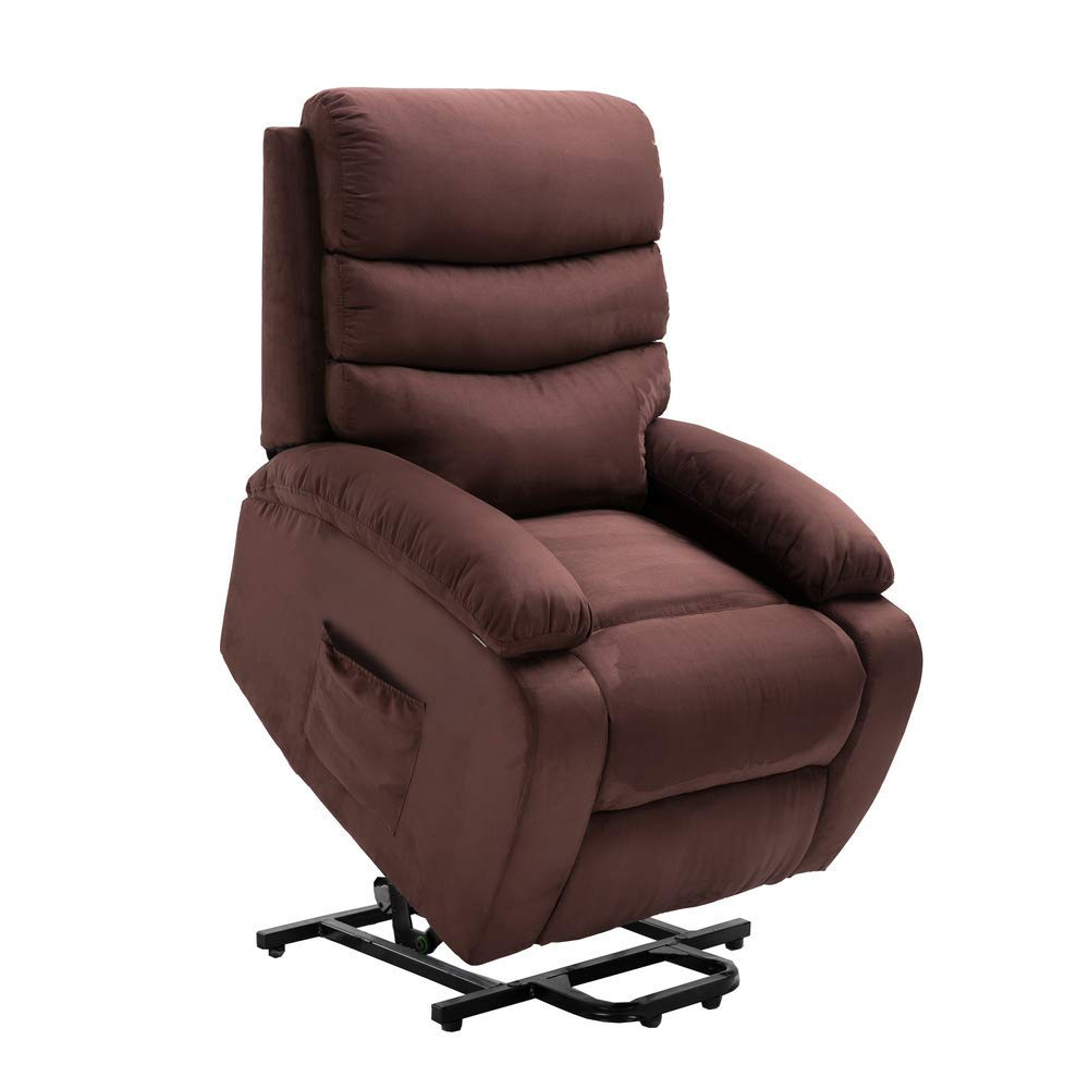 Homegear Microfiber Power Lift Electric Recliner Chair with Massage, Heat and Vibration with Remote Brown by Homegear