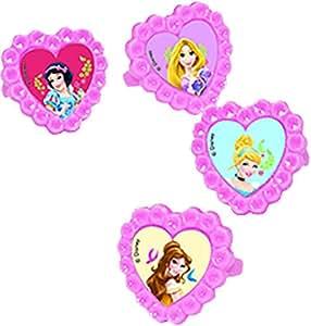 Unique Party Anillos de plástico con diseño de princesas y animales Disney, para rellenar bolsas de fiesta, 4 unidades