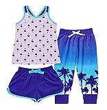 Saint Eve Kids' Girls 3-Piece Summer Pajama Set - Tank, Tee & Linen Pants (S 7-8)