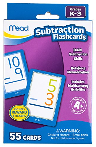 Mead Subtraction Flashcards, 55 Cards, Grades K-3