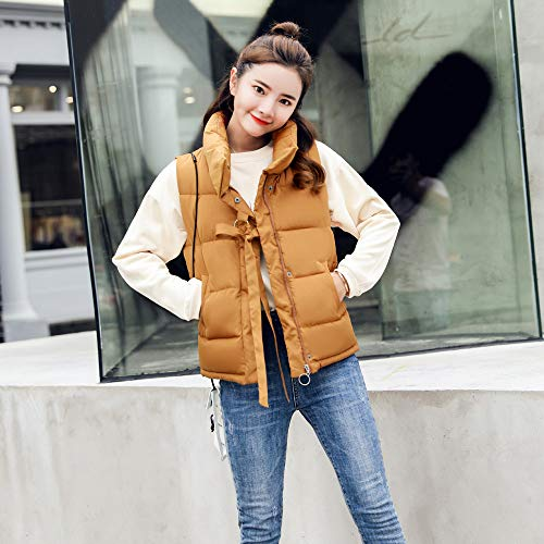 Warm Pockets with Collar Girls Khaki Solid MIRRAY Cotton Turtle Zipper Autumn Plus Jacket Size Sleeveless Womens Winter Loose Padded Full Lace Thick Gilet Waistcoat Outerwear Casual xSwvvgI5q