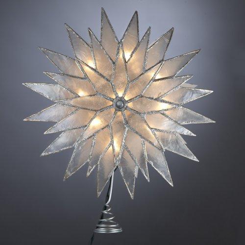 Kurt Adler 9 Lighted Capiz Silver Sunburst Star Christmas Tree Topper - Clear Lights