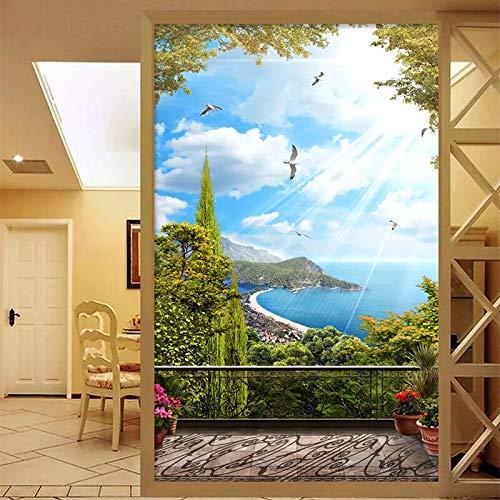 (Foto Wallpaper 3D Mediterraneo Paesaggio Marino Paesaggio Murales Soggiorno Tema D'ingresso Dell'hotel Portico Wallpaper Per Le Pareti 3 D Decorazione cchpfcc-150X120CM)