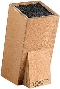 TokioKitchenWare - Soporte para cuchillos universal de madera con cepillo interior