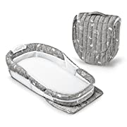 Baby Delight Snuggle Nest Harmony Portable Infant Sleeper Baby Bed - Grey Elefontes, Travel Bassinet and Co-sleeper with breathable mesh walls, with soothing sound, light and incline wedge