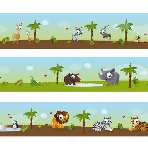 Frise Wandkings « Les petits animaux de zoo » Longueur : 450 cm, auto-adhésive, pour chambres d'enfants pour chambres d' enfants