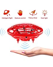 infinitoo Mini UFO Flying Ball Toys, Hand-Controlled Drone With 5 Infrared Sensors 360°Rotating and Flashing LED Lights Kids Flying Toys for Kids, Boys, Girls (Red)