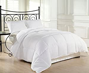 Plush and Lightweight White Alternative Down Comforter, Hypoallergenic Duvet Insert - All Sizes (Queen / Full)