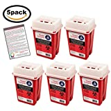 Sharps Container 1 Quart - Plus Vakly Biohazard Disposal Guide (5 Pack)