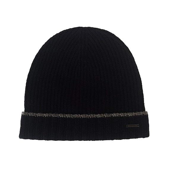 354b27caa9da7 Hugo Boss Fold Over Soft Pure Wool Beanie Hat  Fati  One Size Black ...