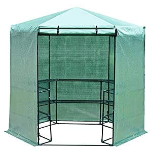 Outsunny-Hexagon-Walk-In-Garden-Greenhouse-PE-Planter-Flower-Growth-Steel-Frame-wZipped-Door-Green
