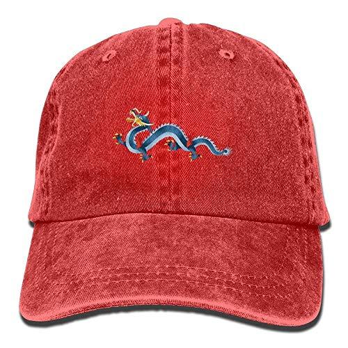 (Chinese Blue Dragon Unisex Washed Adjustable Cowboy Hat Denim Baseball Caps)
