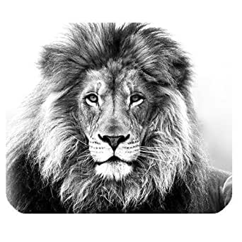 Amazon.com : Rectangle Mouse Pad With Black White Lion ...