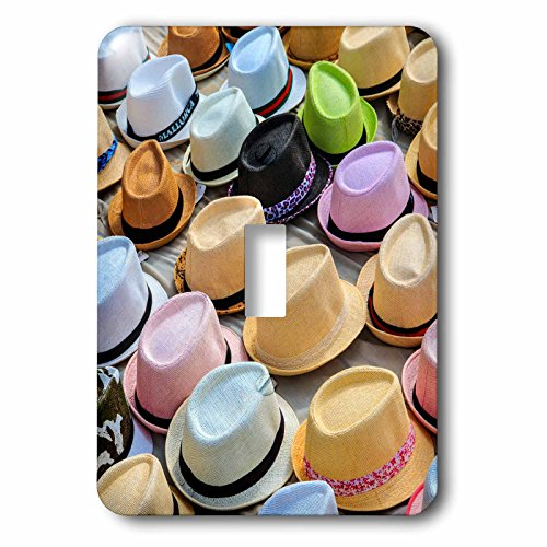 3dRose Danita Delimont - Markets - Spain, Balearic Islands, Palma de Mallorca, hats for sale at market. - Light Switch Covers - single toggle switch (lsp_277906_1) by 3dRose
