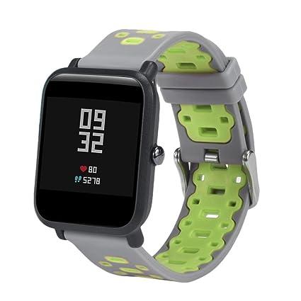 Zolimx Ligero Ventilar Suave Silicona Reloj Banda Pulsera para Xiaomi Huami Amazfit Bip Juventud Smartwatch (190×20 mm, G)